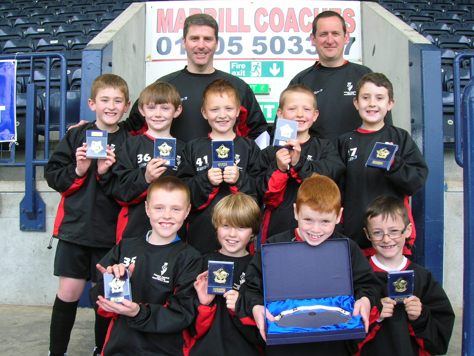 TROON THISTLE TIGERS with their Fair Play medals and Salva